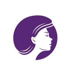 Logo face woman beauty salon spa fashion symbol vector