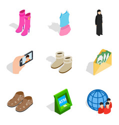 Madam icons set isometric style vector