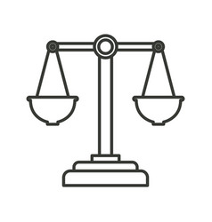 Monochrome silhouette of justice scales vector