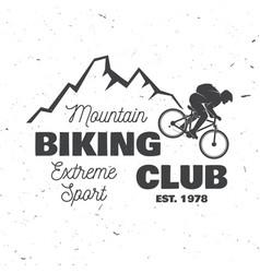 mountain biking club vector image