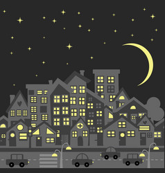 night city skyline silhouette with cartoon vector image