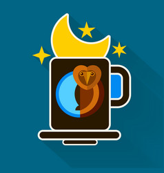 night owl and moon original design vector image