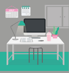 office room in workplace furniture interior design vector image