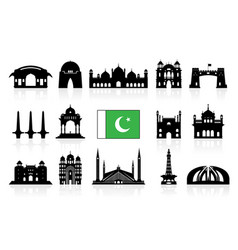 Pakistan travel landmarks icon set vector