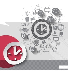 Paper and hand drawn clock emblem with icons vector