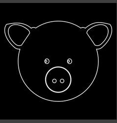 Pig head the white path icon vector