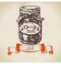 Rustic canning jar with cherry jam vector image