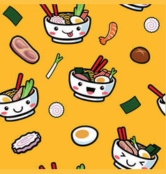 seamless japanese food pattern vector image