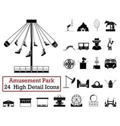 set of 24 amusement park icons vector image
