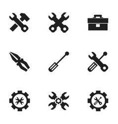 set of 9 editable mechanic icons includes symbols vector image