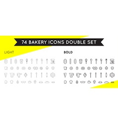 Set of Bakery Pastry Elements Thin and Thick Set vector