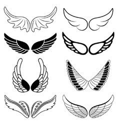 Set of eight black and white silhouettes of wings vector image