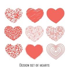 Set of nine stencil hearts for design vector