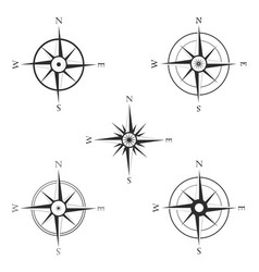 Set of various icons of navigation compass vector