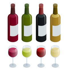 Set of white rose and red wine bottles and glas vector