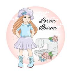 Sew girl icon social media profile portrait vector