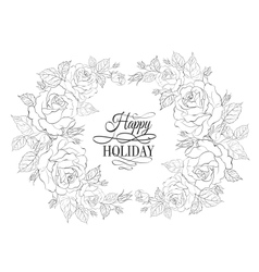Silhouette of rose with sample text vector image