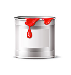silver paint can blank bucket red paint vector image