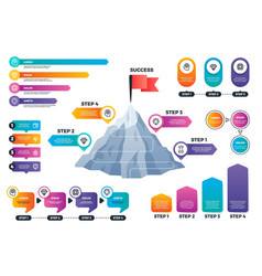 Steps to success infographics mountain graph with vector