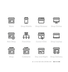 store or shop icon set franchise business and vector image