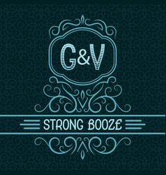 strong booze label design template patterned vector image