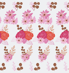 Stylized red pink and orange flowers and berries vector