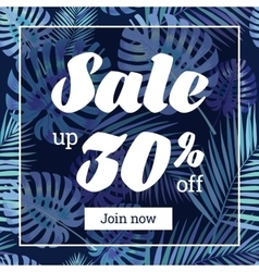 Summer sale web-banner or poster with palm leaves vector