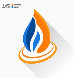 symbol fire Dark blue and orange flame glass icon vector image