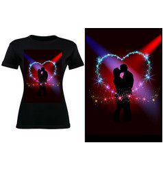 T-shirt design with silhouetted couple vector