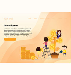 team growing investment with tree leaf with gold vector image