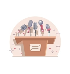 Tribune with microphones vector image