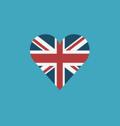 United kingdom flag icon in a heart shape in flat vector