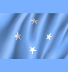 Waving flag of federated states micronesia vector