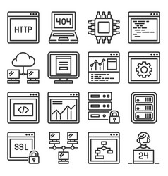 web and network hosting icons set vector image
