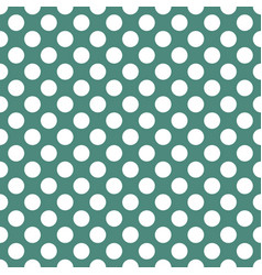 white polka dots on green seamless background vector image