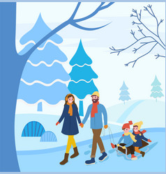 winter vacations family parents and children vector image