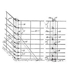 Wire fence roadblock vintage engraving vector