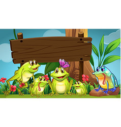 Wooden sign with frogs in field vector
