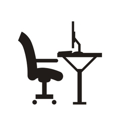 Workplace desk chair and computer icon vector