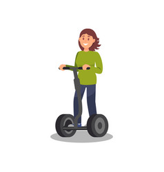 Young woman riding segway healthy and active vector