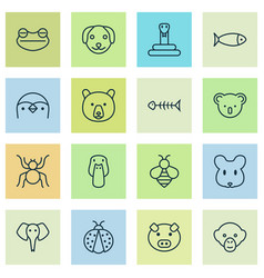 zoo icons set collection of marsupial grizzly vector image
