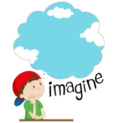 Boy with imagination bubble vector image vector image