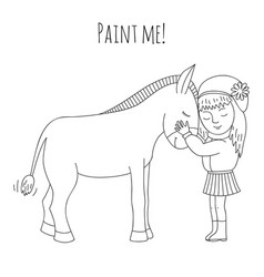 coloring girl and donkey vector image vector image