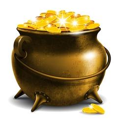 Pot with treasure vector image vector image