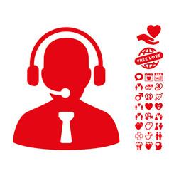 reception operator icon with valentine bonus vector image vector image
