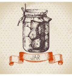 Rustic canning jar with tomato vector image vector image