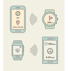 Smartwatches and smartphones communication vector image vector image