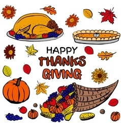Thanksgiving day dinner set vector image vector image