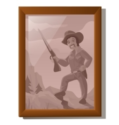Wall picture in frame portrait of American hunter vector image