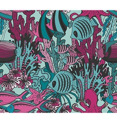 colorful seamless sea pattern with tropical fishes vector image vector image